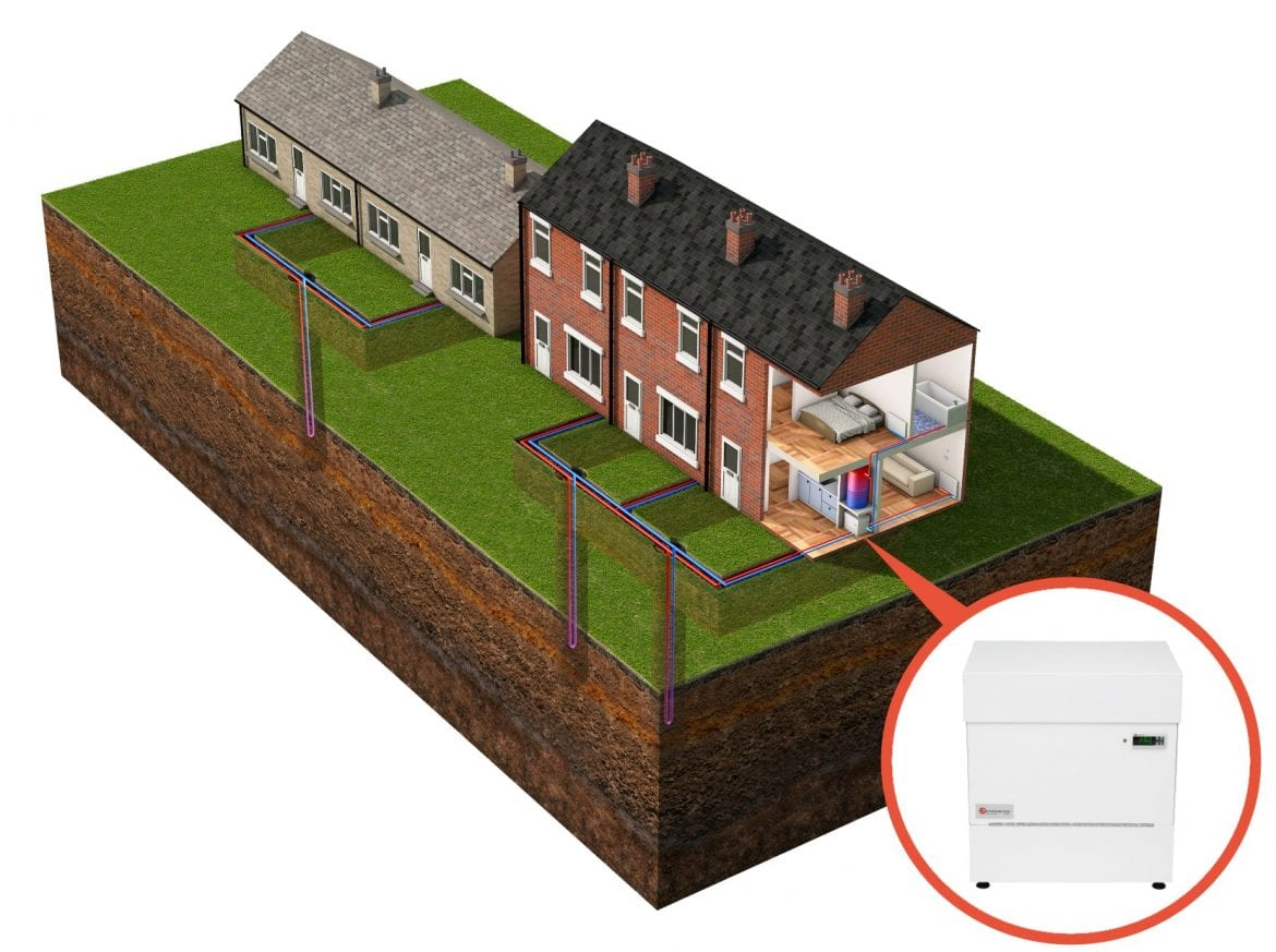 Shared Ground Loop Array Kensa Shoebox ground source heat pump in housing