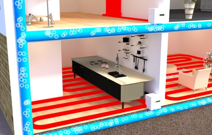 Ambient shared ground loops provide passive cooling and prevent overheating. Underfloor heating and Shoebox heat pumps