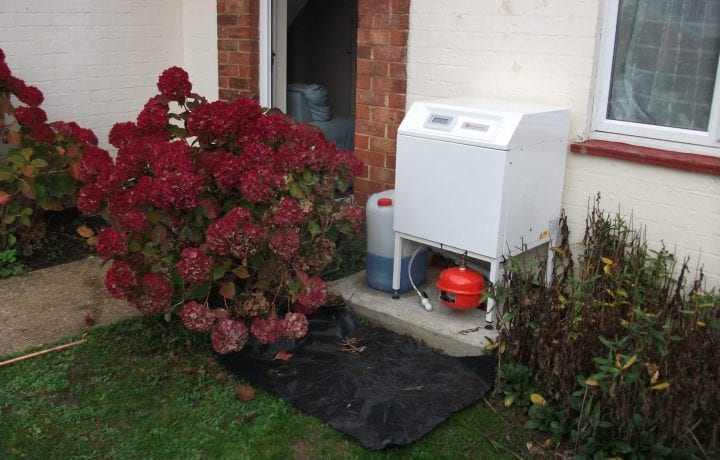 Ground Source Review: New Linx, Lincolnshire. Heat pump in garden