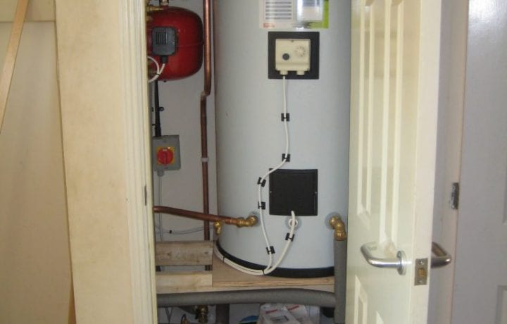 Ground Source Review: Flagship, Fressingfield -The Shoebox and new hot water cylinder in the airing cupboard.