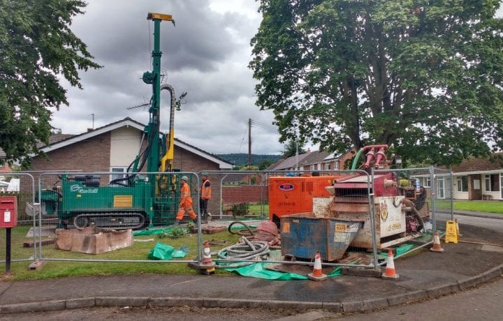 Ground Source Review: Stonewater Housing Weobley, Retrofit Social Housing Project - Borehole drilling