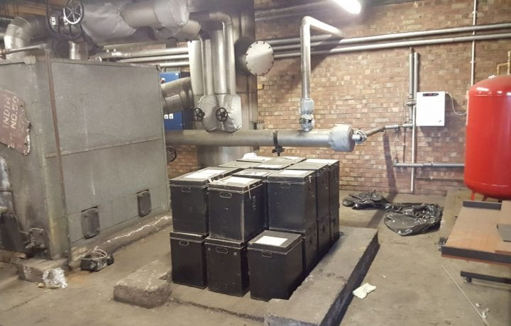 Ground Source Review: Stakeford Depot & Riverside Centre - Depot Boiler Room Before Ground Source Heat Pump Installation