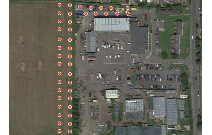 Ground Source Review: Stakeford Depot & Riverside Centre -Stakeford depot aerial view boreholes