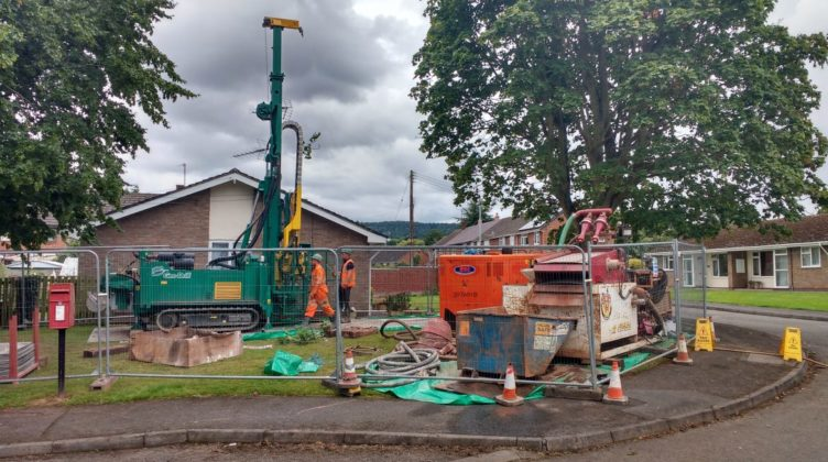 Stonewater Housing Weobley District Ground Source Heat Pump Retrofit Social Housing Project Borehole drilling