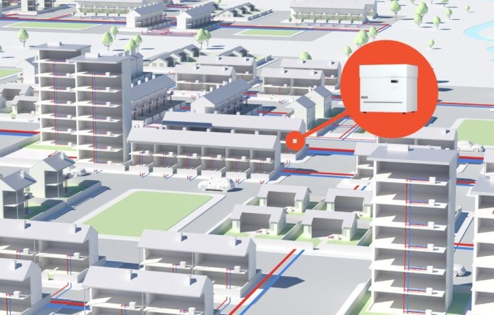 Fifth Generation District Heating with Ambient Shared Ground Loop Arrays and Kensa Shoebox Ground Source Heat Pumps