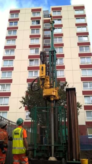 Croydon Council and Kensa Contracting Ground Source Heat Pump drill rig