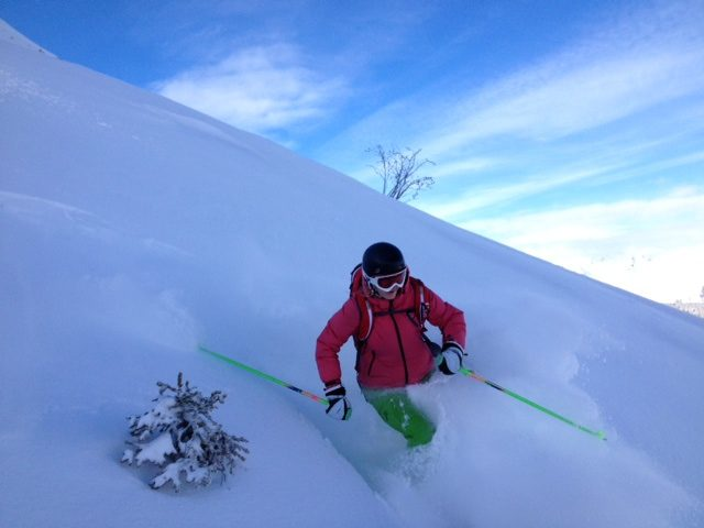 Nicki our operations manager enjoying the powder in Courchevel 1850
