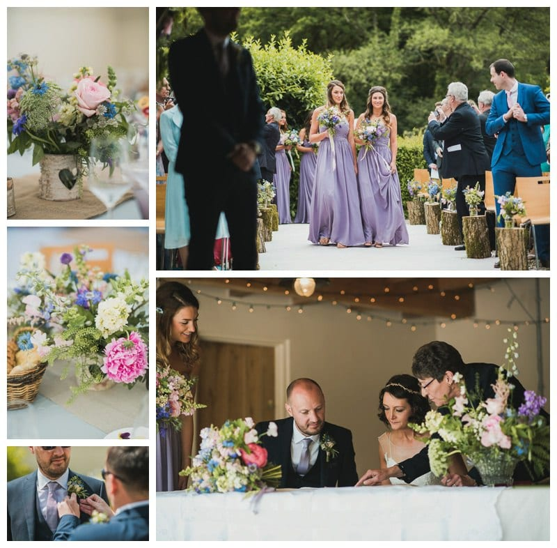 Centrepieces, bridesmaids bouquets, jars on logs, buttonholes and Registrar's table arrangements by Dartmoor Flowers. Photography: www.nickwphotography.com