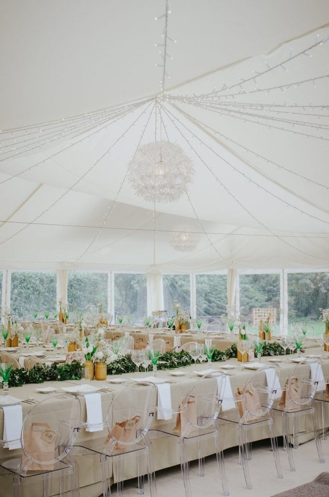 dartmoor wedding marquee long table wedding breakfast set up ghost chairs