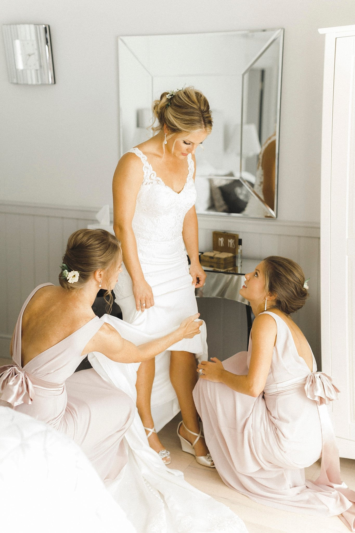 bride tribe getting the bride ready