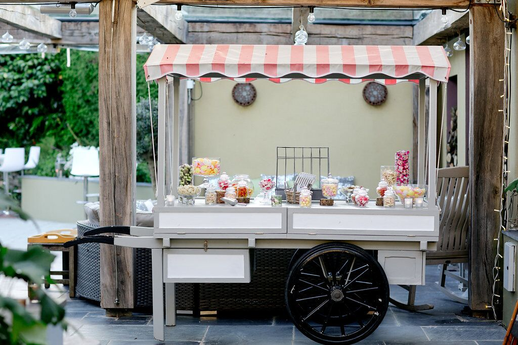 sweet cart, ever after, sweeties, treats, personalised, exclusive, hire, dessert, rustic