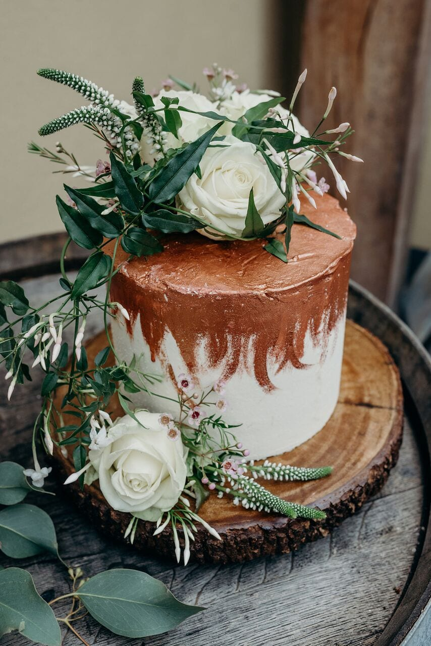 more cake elopement wedding cake inspiration ever after blog rose gold icing effect