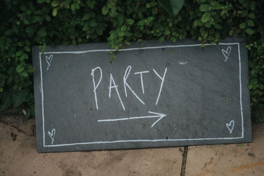 evening reception decor ever after's slate signs