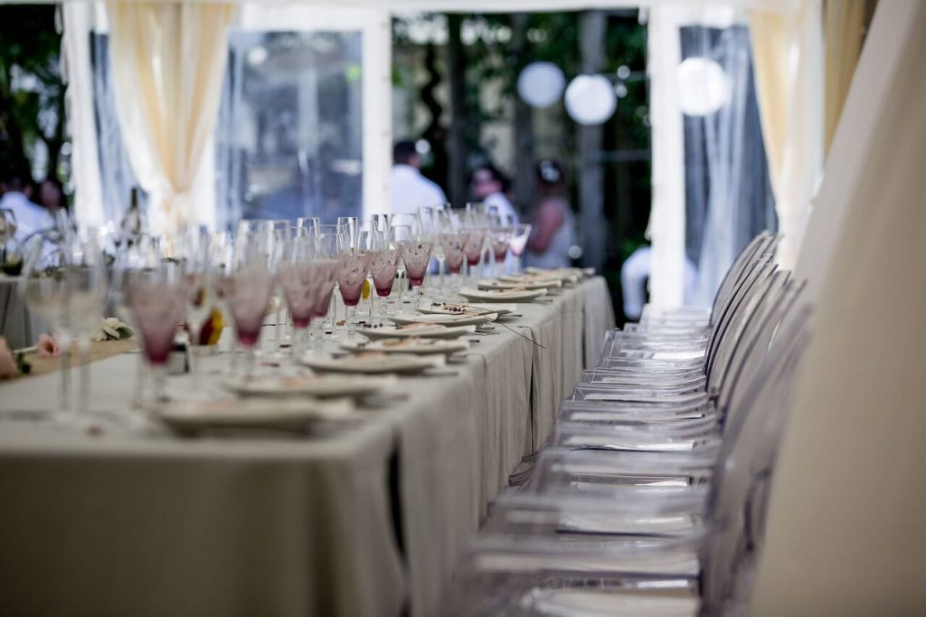 wedding breakfast decor ever after's purple water glasses