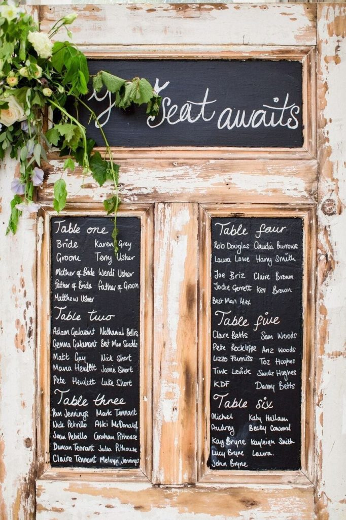 table plan at ever after salvaged door