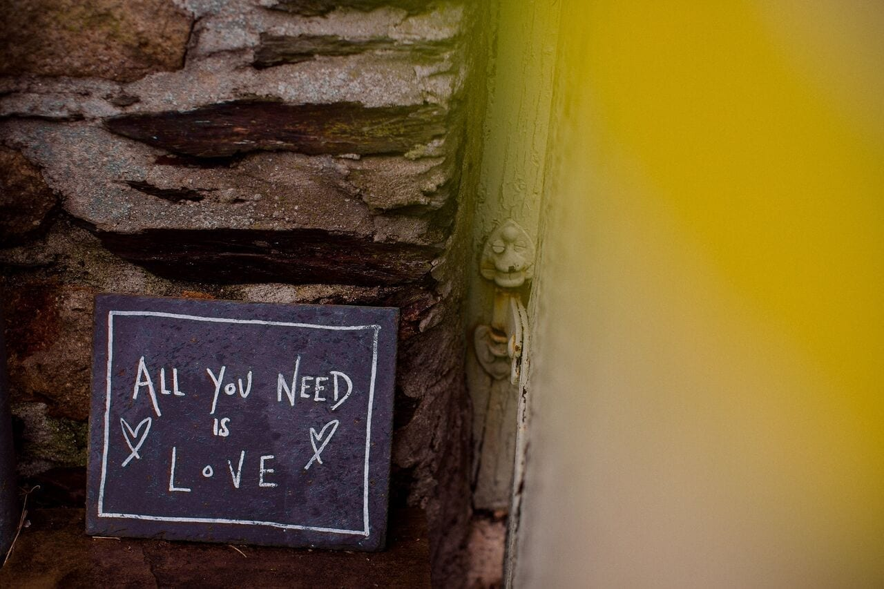 All you need is love slate sign
