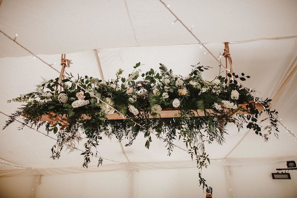 foliage wedding trend report hanging structure