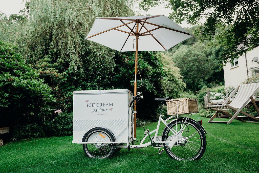 ice cream trike, vintage, brolly, umbrella, waffle cones, popsicles, alcoholic ice lolly's, ever after, lower grenofen